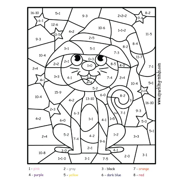 halloween cat color by addition and subtraction math worksheet