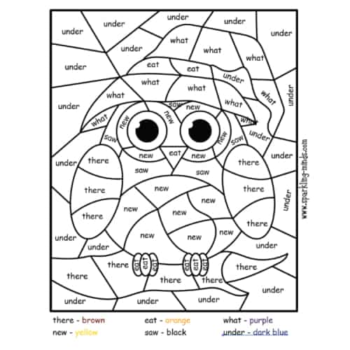 halloween owl color by sight word worksheet