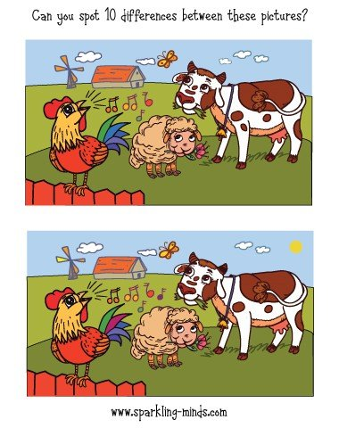 happy farm spot the difference printable game