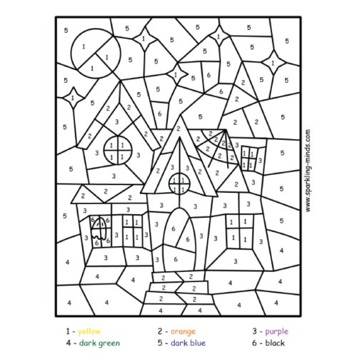 haunted house color by number math coloring worksheet for kids