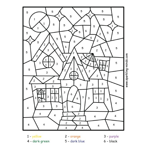 haunted house color by number math coloring worksheet
