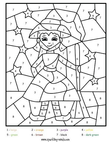 little witch halloween color by number math worksheet