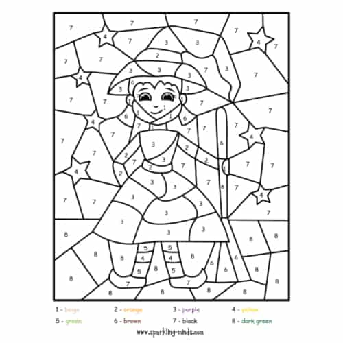 little witch halloween color by number worksheet