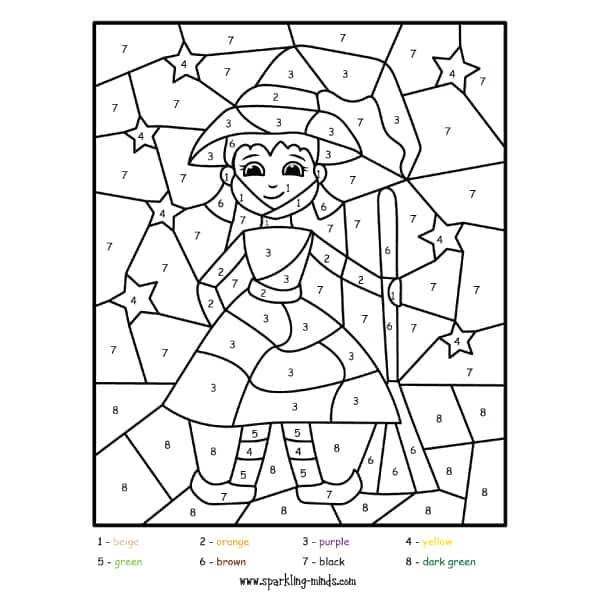 little witch halloween color by number math coloring worksheet