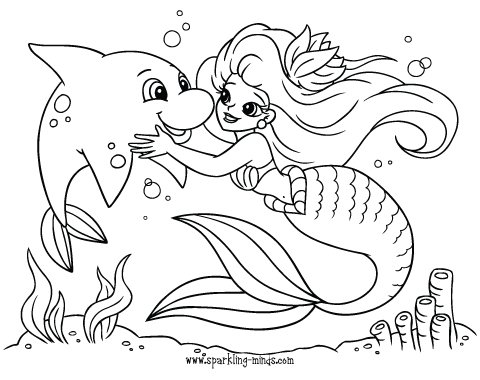 mermaid and a dolphin coloring page
