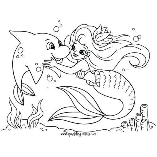 mermaid coloring page for kids