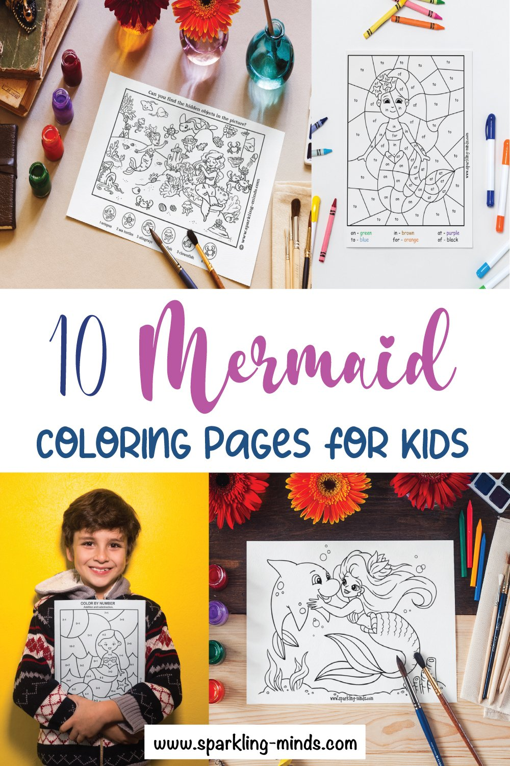 mermaid coloring pages for kids pin image for pinterest