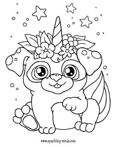 unicorn puppy coloring page