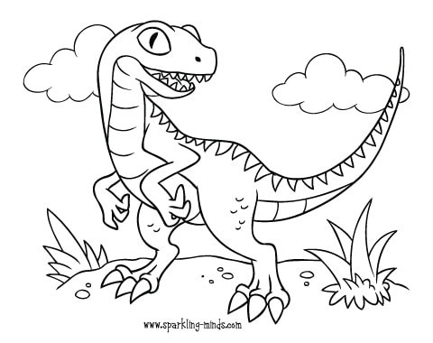velociraptor coloring page for kids