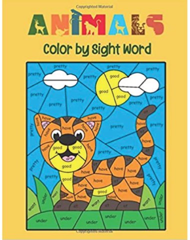 animals sight words coloring book 480