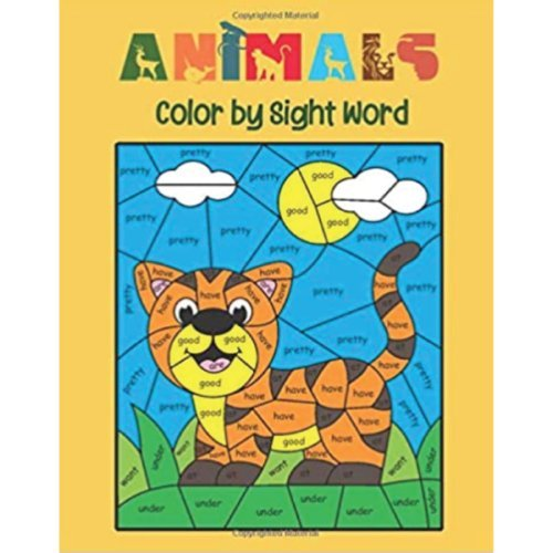 animals sight words coloring book 600
