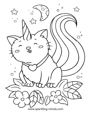 caticorn coloring page for kids