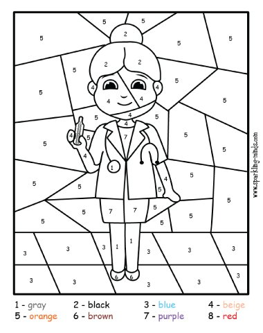 doctor community helper color by number coloring page