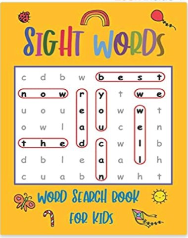 sight words word search book cover