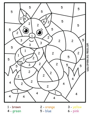 squirrel color by number math coloring page